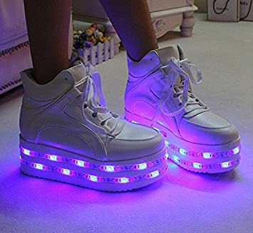 PU leather WHITE high heel led shoes platform shoes with multicolors led  strips sneaker(US size 8 for women d11547ed3