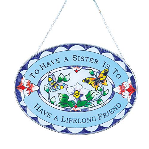 Sisters Suncatcher Outdoor or Indoor Decoration - Stained Glass Colorful Accents