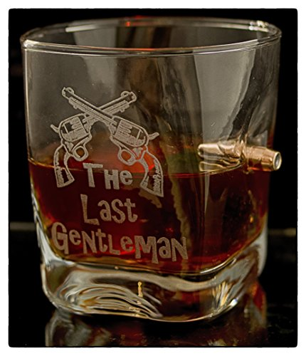 KolbergGlas Whiskey Glass with Real 0.308 cal. Bullet. Ideal Present For Best Man/Dad Engraved -The Last ()