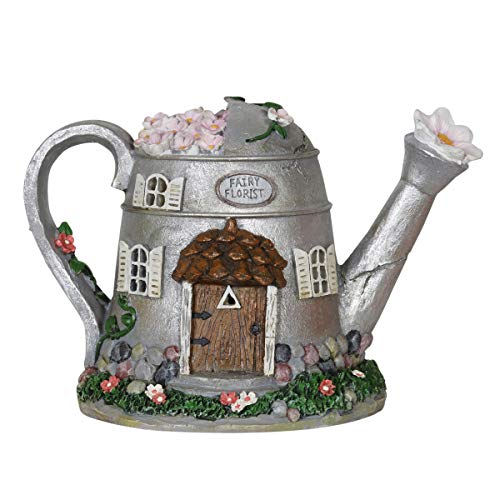 """Exhart Fairy House Statue Solar Silver Water Can - Mini Watering Can Fairy Cottage Resin Statue with Solar Decor Lights - Hand-Painted Water Can Resin Fairy Hut Best for a Fantasy Garden, 7"""""""