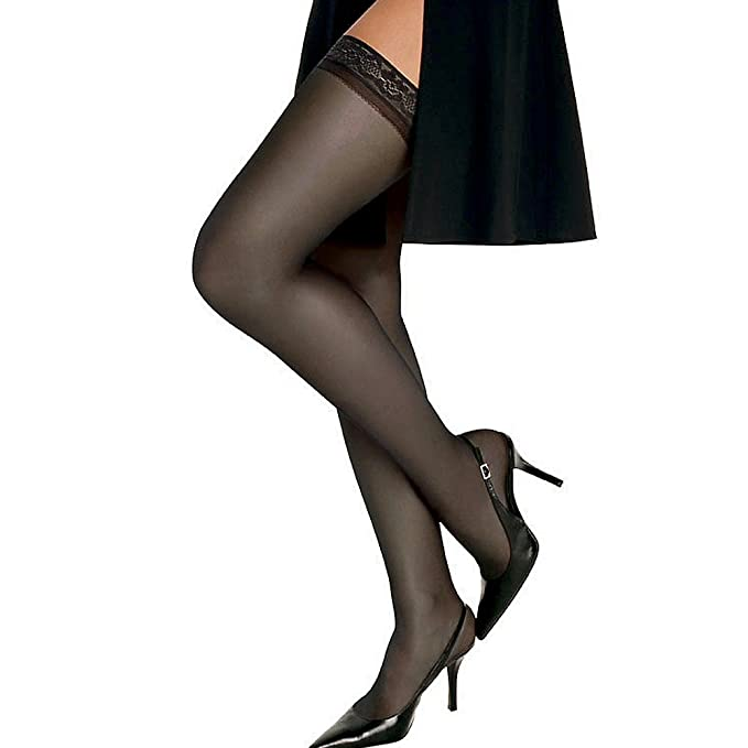 bbca45cae2d Image Unavailable. Image not available for. Color  Hanes Women`s Set of 3 Silk  Reflections Silky Sheer Thigh High ...