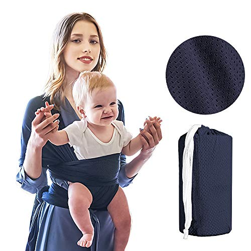 Baby Sling Carrier, Soft and Comfortable Stretchy Baby Wraps for Infants up to 45 lbs/20kg; Mesh Fabric Hands Free Ergonomic Baby Carrier Ideal for Summers/Beach (Cyan)