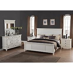 Bedroom Roundhill Furniture Regitina 016 Bedroom Furniture Set, King Bed, Dresser, Mirror, 2 Nightstands, White modern bedroom furniture sets
