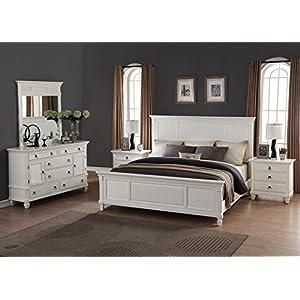 Roundhill Furniture Regitina 016 Bedroom Furniture Set, King Bed, Dresser, Mirror, 2 Nightstands, White-P