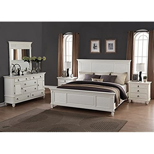 roundhill furniture regitina 016 bedroom furniture set queen bed dresser mirror and 2 nightstands white