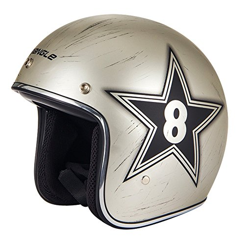 Triangle Harley Scooter Metal Helmets Open Face Cruiser 3/4 Retro [DOT] gold (Large)