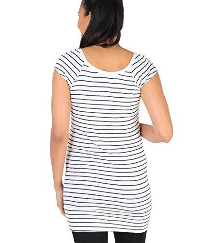 Krisp navy Cream Elastico Top Estato Donne Basic Jersey Fasciato Casual Maglietta rxCrqvwA