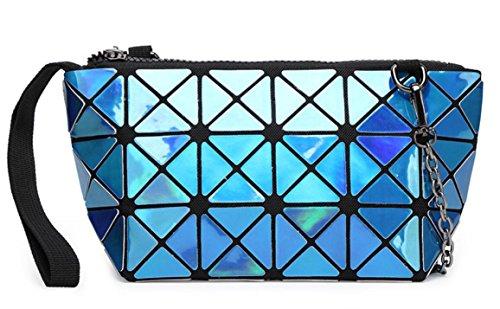 Kayers Sulliva Women's Fashion Hologram Geometric Plaid Wristlet Purse Clutch Wallet Shoulder Handbags(Blue)