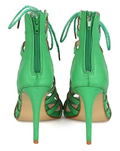 Dbdk Eh35 Vrouwen Kunstleer Peep Toe Caged Strappy Vetersluiting Stiletto Sandaal Groen