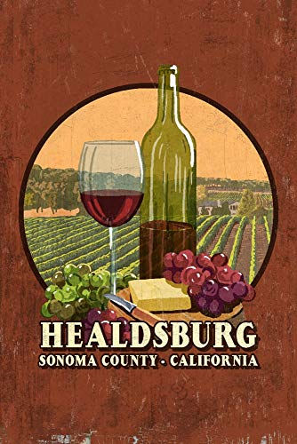 (Healdsburg, California - Sonoma County - Wine Tasting Vintage Sign - Contour 99232 (24x36 SIGNED Print Master Art Print w/Certificate of Authenticity - Wall Decor Travel Poster))