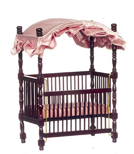 Melody Jane Dolls Houses House Miniature 1:12 Scale Nursery Baby Furniture Mahogany Wood Canopy Cot