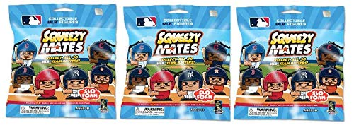 Party Animal SqueezyMates from Maker of TeenyMates 2019 MLB Baseball Batters Series 1 Slo-Foam Stress Relief Squishy Slow Rising Figures Blind Bags Gift Set Party Bundle - 3 Pack