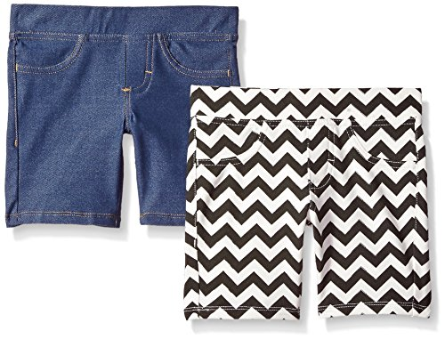 Lee Girls'  2 Pack Berm Short, Blue Short/Zig Zag Short, 6 (Bermuda Slim Shorts)