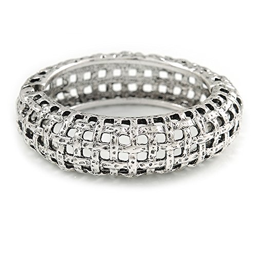 - Vintage Inspired 'Basket-Work' Effect Chunky Hinged Oval Bangle Bracelet in Antique Silver Tone - 19cm L