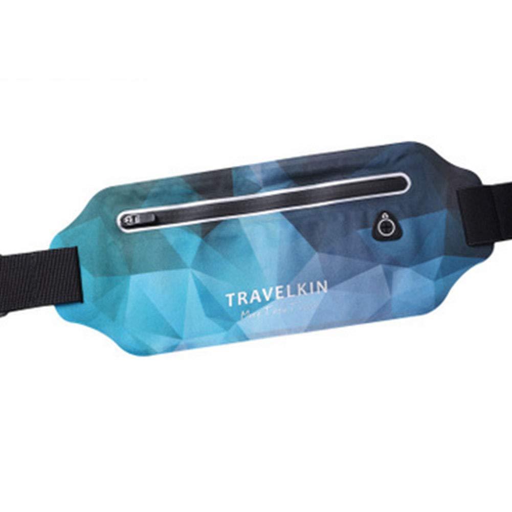 GGOOD GGG- Cinturón de Running multifunción, Impermeable, con cinturón Extensible para Correr, Yoga, Fitness, Ciclismo, Color Azul