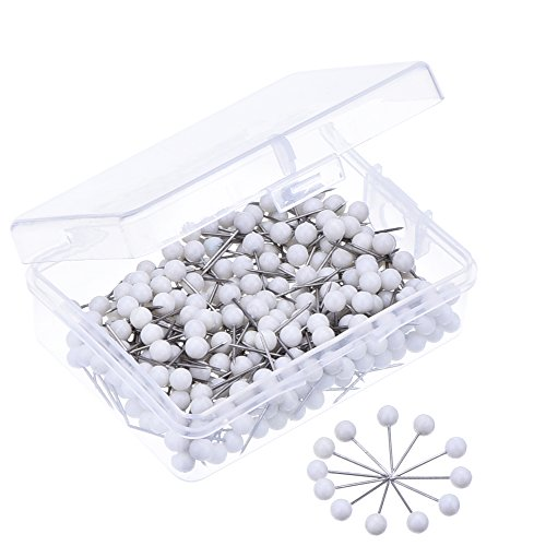 Outus 1/ 8 Inch Round Head Map Tacks Push Pins, 300 Pieces, White