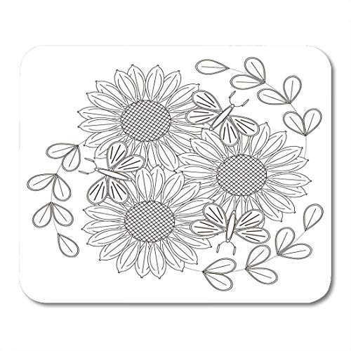 Boszina Mouse Pads Adult Black and White Sketch of Sunflowers Flowers and Butterflies for Anti Stress Coloring Page Stock Mouse Pad for notebooks,Desktop Computers mats 9.5