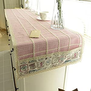 Woven Fabric Computer Table Cloth/TV Cabinet Drawers Shoe Coffee Table Cover  Towel/Table Runner/Tablecloth A 35x130cm(14x51inch)