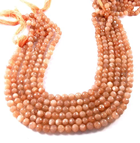 8 Mm Peach (Peach Moonstone Beads 7mm - 8mm Peach Moonstone Faceted Beads Stone Facet Rondelles 14 inch Strand)