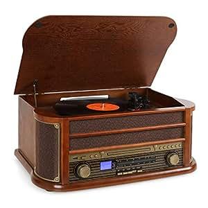 auna Belle Epoque 1908 - estéreo - toca discos de vinilo - accionamiento por correa - altavoces estéreo - radio - receptor FM/AM - ranura USB - reproductor de CD - pletina de cassette - café