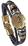 KAVANI Punk Alloy Leather Bracelet for Men Constellation Braided Rope Bracelet Bangle Wristband Zodiac Sign and Zodiac Charm
