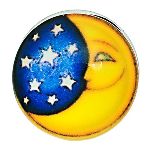 Multi Color Glass Buttons - Souarts Multicolor Round Glass Moon Star Snap Button Fit DIY Bracelets 18mm