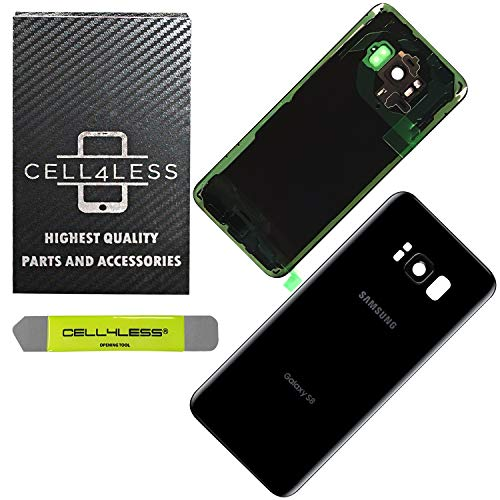 CELL4LESS Replacement Back Glass Cover Back Door w/Pre-Installed Camera Lens/Frame, Adhesive & Removal Tool Samsung Galaxy S8 - All Models G950 All Carriers (Black)