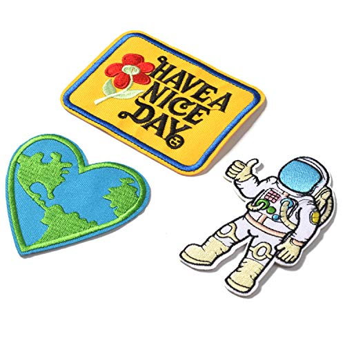 J.CARP 3 Pcs Iron-on Applique Embroidered Patch (HAVE A NICE DAY, Astronaut - A journey to space and Love Earth)