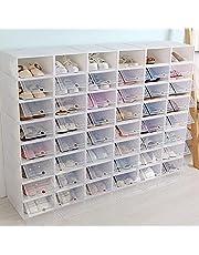 Transparante stapelbare schoenendoos schoenenbox, kunststof box opvouwbare plastic opbergdoos met doorzichtige deur (20 stuks)