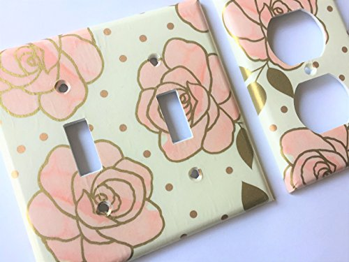 Pink And Metallic Gold Floral Light Switch Plate Cover - Various Sizes Light Switchplates Offered - Contemporary Switchplate