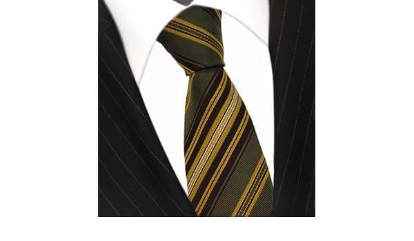 MEXX seda corbata verde oscuro oro marrón plata rayas – Corbata ...
