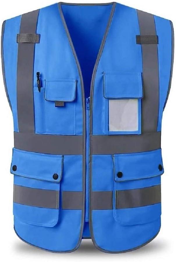 Azul, L HYCOPROT Chaleco de Seguridad de Alta Visibilidad con Bolsillos y Cremallera Cumple con Las Normas ANSI//ISEA Chaleco Transpirable de construcci/ón Ligera