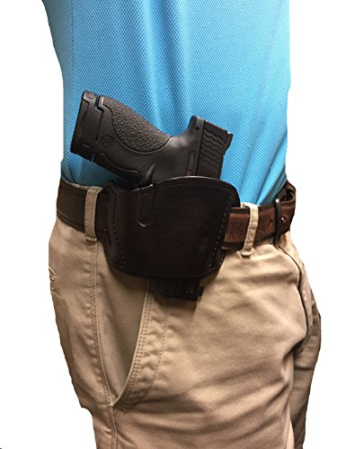Leather Blet Slide gun Holster for Bretta 92, 96, Glock 17, 19, 21, 22, 23, 26, 27, 30, 31, 32, 33, 36, H&k 9mm, 40cal, 45 Cal, H&k USP Compact, Ruger P-series, Smith and Wesson 40cal, 45 Cal, 9mm, Taurus Pt92, Walther P99, Walther Pps, High Point 9mm .380 for Righ Hand