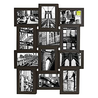 Kiera Grace Array Collage Wall Picture Frame, 17 by 23-Inch for 12- 4 by 6-Inch Photos, Espresso