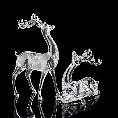 Elitek 2Pcs Christmas Figurines Sets Crystal Sika Deers Holiday Gift by Elitek