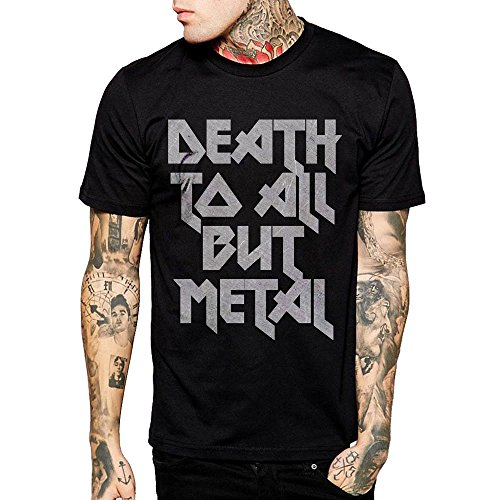 DEATH TO ALL BUT METAL Steel Panther Slogan Men Black Cotton T Shirt (Medium)