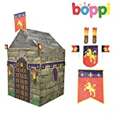 Childrens Kids Canvas Effect Play Tent Knight Castle with 4 Dress Up Accessories Garden Outdoor Indoor Play House