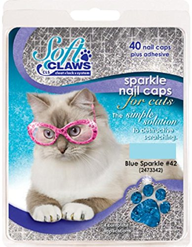 Soft Claws Nail Caps - Feline Soft Claw Nail Caps, Small, Blue Sparkle