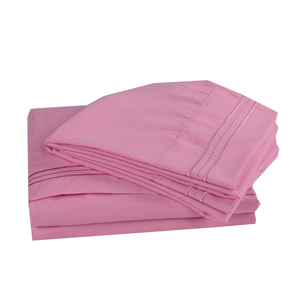 4PC Bedding Sheet Set, Sheet & Pillowcase Sets - Queen, Pink
