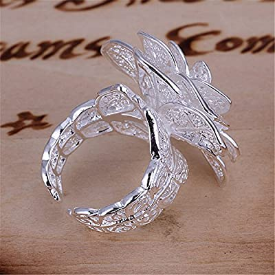 NYKKOLA New Fashion Jewelry 925 Style Beautiful Classic Rose Flower Sterling Silver Ring