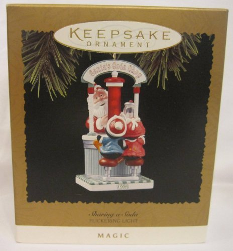 QLX7424 Sharing a Soda 1996 Hallmark Keepsake Magic - Miniature Old Santa Jolly