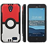 pokemon protective phone case - [Mobiflare] ZTE Prestige 2/Avid [Plus/Trio]/Sonata 3/Maven 2 Shock Proof Cover [Black] Protective Phone Case - [Red Ball] for ZTE N9136 [5