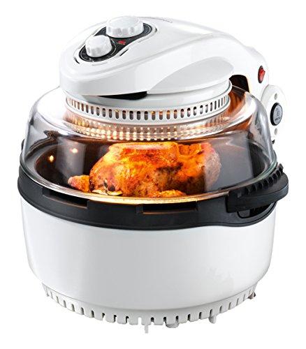 gourmetmaxx 00974 Halogen- /Heißluftofen XXL mit Frittierkorb und Drehspieß   1400 W   Oven   Fritteuse, weiß