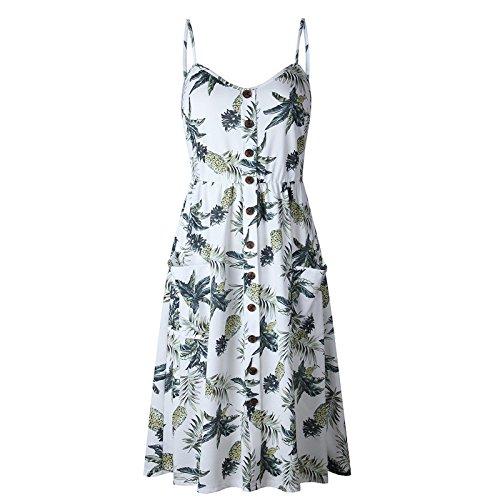 JIANGTAOLANG Summer Strap Print Floral Dot Long Beach Dress Women Loose Elegant Vintage Dress White Pattern 3 L