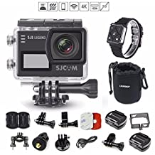 SJCAM SJ6 Legend (+REMOTE WATCH and VALUE PACK) 4K 1080P WiFi Touchscreen Dual LCD Gyro Anti-Shake Adjustable Angle 170° Max CMOS Waterproof Action Camera (Black)