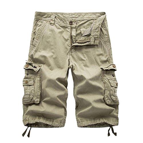 Cargo Slant Pockets Shorts - Aurorax Men's Cargo Shorts Pant, Casual Stretch Sports Fitness Gym Pants with Pocket (Khaki, 30)