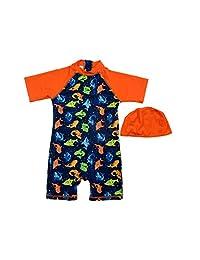 SUNOUTLET Infant Boy UPF 50+ Sun Protection S/S One Piece Zip Sunsuit Free Sun Hat