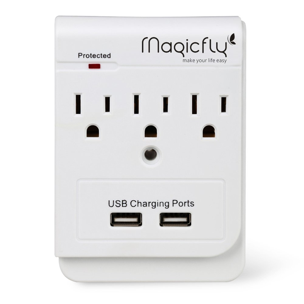 Magicfly Power 3 AC Outlet Socket Wall Mount Surge Protector with Dual USB Charging Port Wall Charger 2.1A (Screw Included) by Magicfly (Image #1)