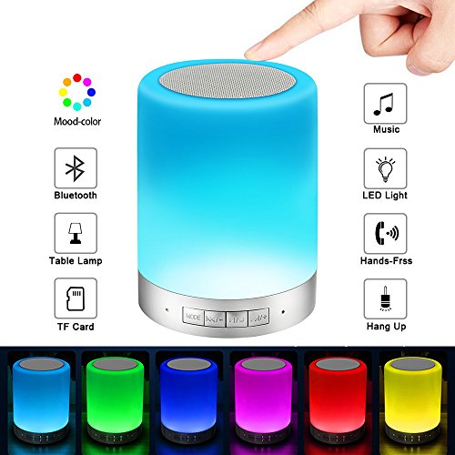 Elecstars Bluetooth Speakers  Smart Touch Lamp Speaker   Color Changing Night Light Wireless Stereo Subwoofer  Best Gift For Men Women Teens Children Kids And Friends