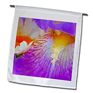 Jos Fauxtographee Realistic - The inside of a beautiful flower, an Iris with purple and orange - 18 x 27 inch Garden Flag (fl_64757_2)